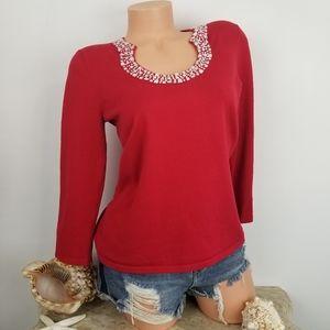 Spense Silk blend red bling knit top Sz S